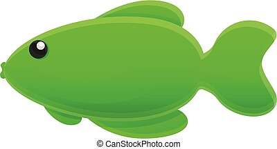 Green fish icon, cartoon style