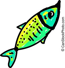 Green fish, illustration, vector on white background.