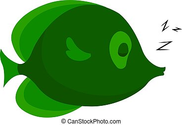 Green fish, illustration, vector on white background.