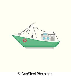 Green fishing boat with trawl net and lifebuoy. Ship for industrial seafood production. Flat vector icon of commercial marine vessel