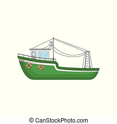 Green fishing trawler. Ship for industrial seafood production. Big boat with lifebuoys. Flat vector icon of marine vessel