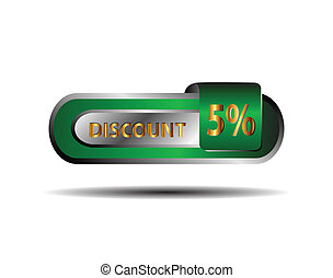 Green five percent discount button
