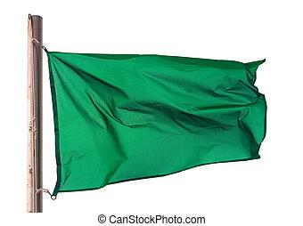 Green flag on white background
