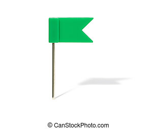 Green flag pin with shadow