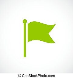 Green flag vector icon