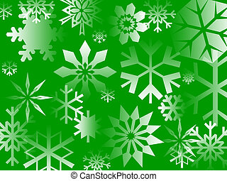 Green Flake - Busy snowflake pattern on a green background.