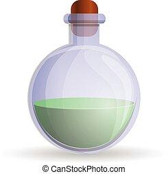 Green flask icon, cartoon style