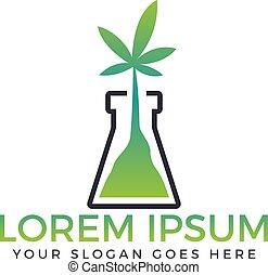 Green flask with cannabis leaf logo design.