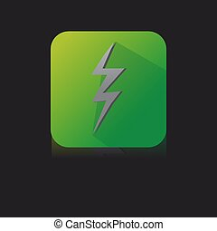 Green Flat Icon of Electricity With