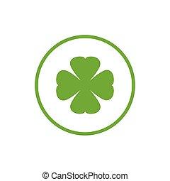 Green flat icon of irish clover in circle. Shamrock isolated on white. Vector illustration. Eco style. St Patrick