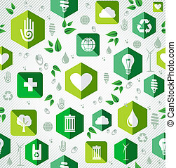 Green flat icons seamless pattern.