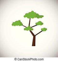 Green flat tree on white background