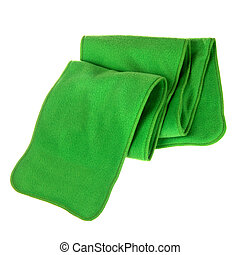 green fleece folded scarf isolated on white