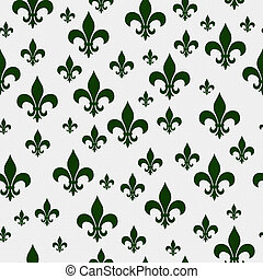 Green Fleur-de-lis Pattern Repeat Background that is...