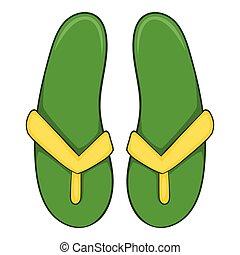 Green flip flops icon, cartoon style