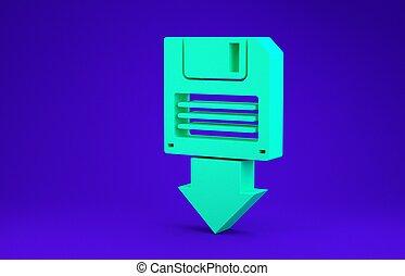 Green Floppy disk backup icon isolated on blue background. Diskette sign. Minimalism concept. 3d illustration 3D render