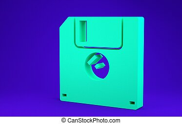 Green Floppy disk for computer data storage icon isolated on blue background. Diskette sign. Minimalism concept. 3d illustration 3D render