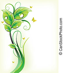 Green floral background. Vector