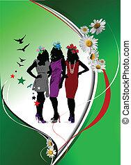 Green  floral background. Vector illustration