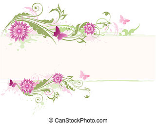 green floral background with pink flowers