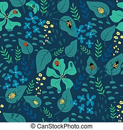 Green floral background with plants and insects.