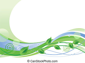 Green Floral Background With Space For Text
