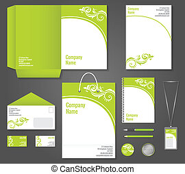 Green floral business stationery template