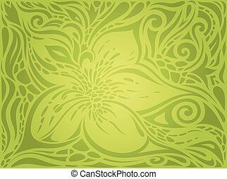 Green Floral Easter Decorative ornate pattern wallpaper vector design backround