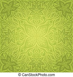 Green Floral Easter Decorative ornate pattern wallpaper vector mandala design background