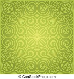 Green Floral Easter Decorative ornate pattern wallpaper vector mandala design backround