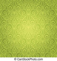 Green Floral Easter Decorative ornate pattern wallpaper vector repeatable design backround