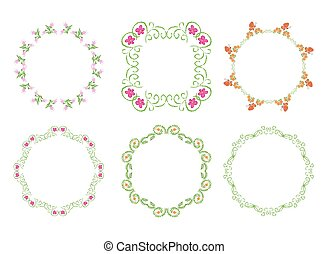 green floral frames - vector set