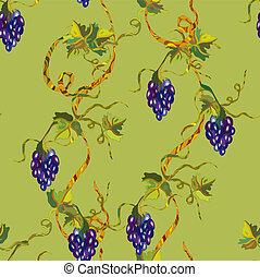 Green floral grape seamless pattern