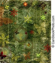 Green floral grunge background