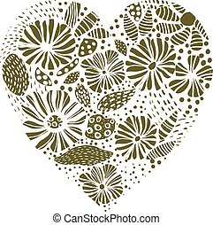 Green floral heart element for wedding invitations and decorative designs, greeting cards.