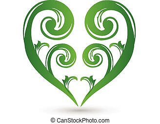 Green floral heart love logo