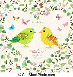 green floral heart with couple of funny birds and butterflies fo
