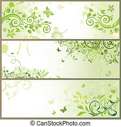 Green floral horizontal banners