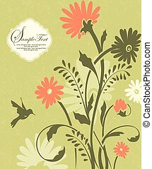 Green floral invitation card with place for text