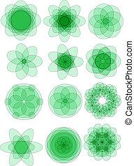 Green floral ornaments vector