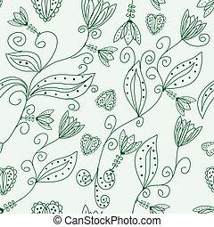 Green floral ornate seamless pattern