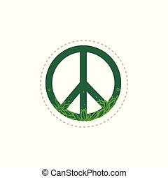 Green floral peace sign with hand drawn plant leaves