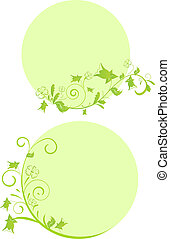 Green floral round frames