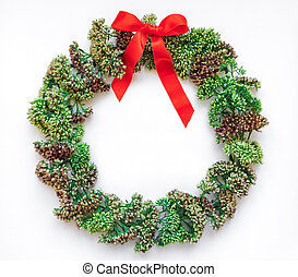 Green floral round wreath frame on white background. Flat lay, top view, view from above. Autumn or winter decoration