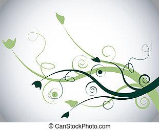 Green Floral Spring Background