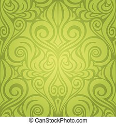 Green Floral spring Easter Decorative ornate pattern wallpaper vector backround