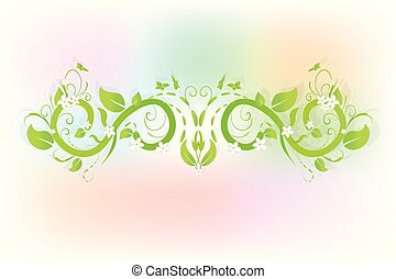 Green floral swirly leafs with flowers ornaments vector image web design