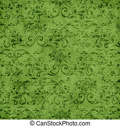 Green Floral Tapestry Pattern