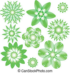 Green floral vector ornaments