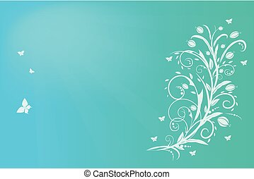Green floral vintage card vector background